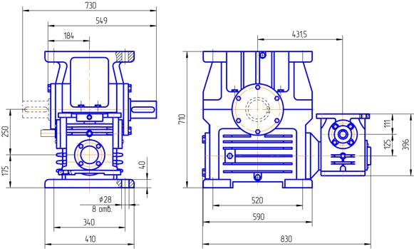 Двухступенчатый червячный редуктор SVFD 44/86